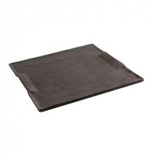 Bandeja Cuadrada Mineral Negro Gres 24,5x24,5 cm (Caja 6 uds)