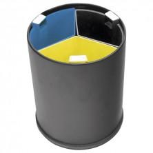 Papelera Negra Separación Selectiva 3 Cubos De Colores