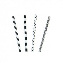 Canutillos Papel Franjas Negras Y Topitos 0,6 cm - 20 cm largo(Caja 200 Uds)