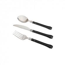 Set 3 Cubiertos Metalizados Con Mango Negro (250 set)
