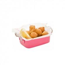 Mini Cubeta Rectangular Con Asa Epoxi Colo Rosa 14,5 x 9,5 x 4,5 cm