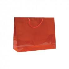 Bolsa Roja Boutique Con Asa Cordón 40 + 15 x 32 cm (Pack 10 Uds)