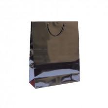 Bolsa Negra Boutique Con Asa Cordón 40 + 15 x 50 cm (Pack 10 Uds)