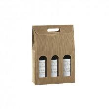 Caja Cartón Ondulado Para 3 Botellas 27 x 9 x 34 cm (Pack 30 Uds)