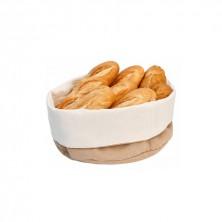 Cestas Para Pan Ovales Algodón Crema Y Marrón 15 x 20 x 7 cm