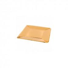 Plato Cuadrado Oro 20 x 20 cm (Pack 10 Uds)
