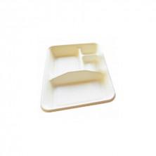 Bandeja Bionic Caña De Azúcar 4 Compartimentos Blanca 23 x 17 x 3,5 cm (Pack 50 Uds)