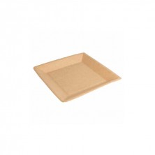 Platos Cuadrado Cartón Bio - Lacados Natural 18 x 18 cm (Pack 20 Uds)