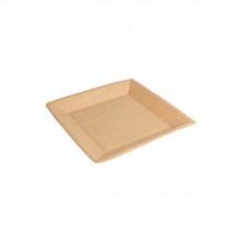 Platos Cuadrado Cartón Bio - Lacados Natural 23 x 23 cm (Pack 20 Uds)