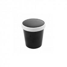Tarrinas Negra Para Sopa Con Tapa 480 ml (Pack 25 Uds)