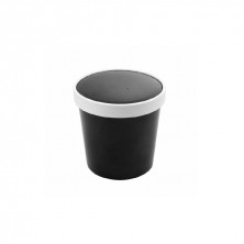 Tarrinas Negra Para Sopa Con Tapa 780 ml (Pack 25 Uds)