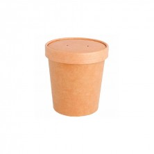 Tarrinas Kraft Para Sopa Con Tapa 480 ml (Pack 25 Uds)