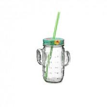 Jarra Cactus Transparente Con Pajita Cool 40 cl
