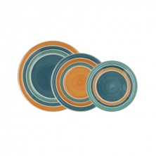 Vajilla Aire Multicolor Azules y Naranjas 18 Piezas